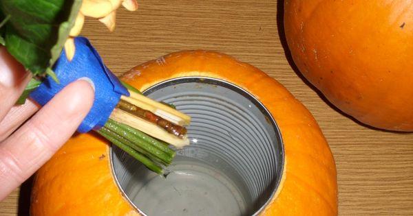DIY Pumpkin Flower Vase [Tutorial] : insert soup can into pumpkin and