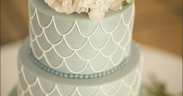 Pale Grey Wedding Cake with Fishscale Detail & Ivory Flowers