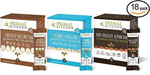 Primal Kitchen Coconut Cashew Dark Chocolate And Hazelnut Protein Bars Variety 3 Pack Made With Grassfed Collagen Nutrition Bars Protein Drinks Protein Bars