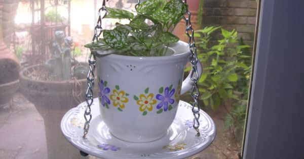 Cup And Saucer Hanging Planter Upcycled And Repurposed