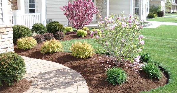 Simple front yard landscaping ideas notice the grouping for Basic front yard landscaping