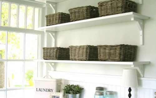 Laundry room ideas - counter over machines (for front loading), open shelves
