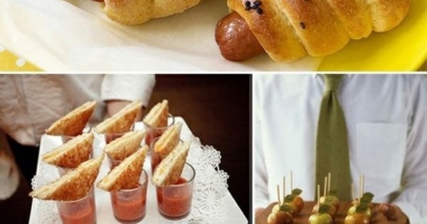 Summer party food ideas. Love the grilled cheese and tomato soup and