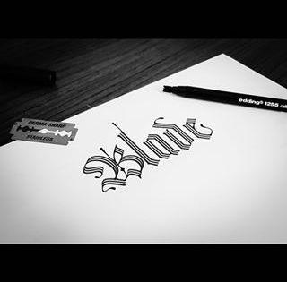 Blade Gothic Calligraphy With Modified Edding 1255 Calligraphy Pen With A Razor Blade On Acalligraphy Paper Jiletle Modifiye Edilmis Edding 1255 文字 影 文字 影