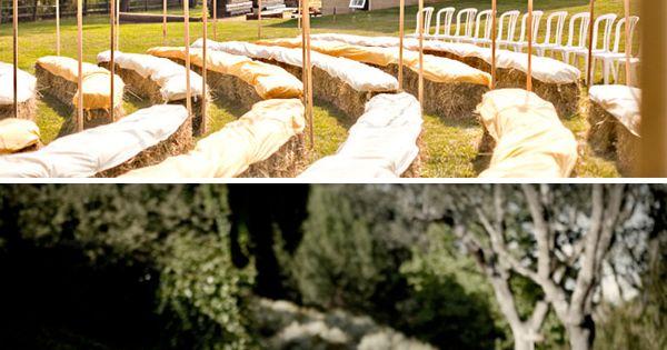 Hay bale wedding seating & ribbon down aisles!