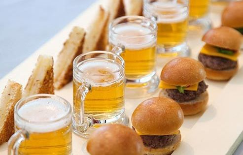 mini beers and sliders ~ perfect! mini burgers, grilled cheese and beers