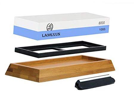 Langxun 2 In 1 Knife Sharpening Stone 2 Side Grit 1000 6000 Whetstone Bonus Non Slip Bamboo Base Angle Thanksgiving Gifts New Year Gifts Knife Sharpening