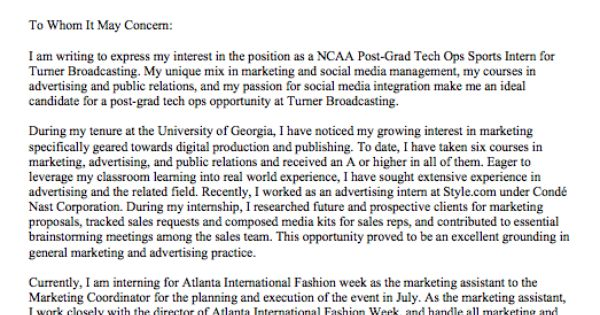 cover letter for turner broadcasting  ncaa digital post grad program