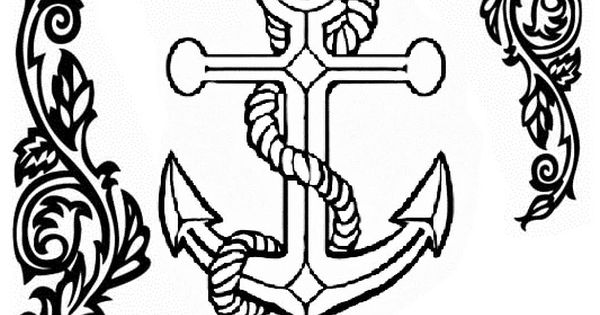 Anchor tattoo coloring pages coloring pages for Anchor coloring page