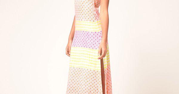 Heti's Colors Neon Hand Block Printed Racer Maxi Dress via @Joy Cho
