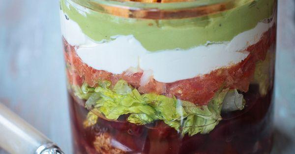 Taco Salat im Glas, vegan, Helene Holunder