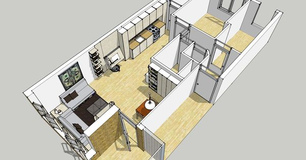 Bird Eye View Of Google Sketchup Plan For Redecoration Of My Apartment A Multifunctional Space