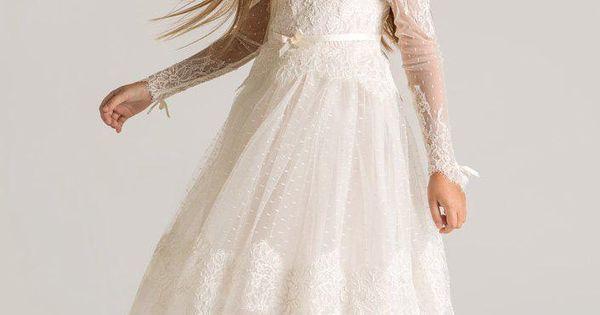 gro handel 2015 princess sheer t ll blumenm dchenkleid mit langen rmeln nach ma spitze. Black Bedroom Furniture Sets. Home Design Ideas