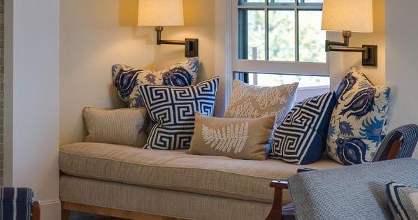 Relaxing Comfy Living Room Beige Cream Natural Fabrics Linens Deep Blue Navy Accent