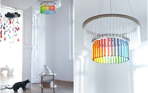 "Test Tube light fixture ""Maria"": a layered chandelier that Pani Jurek designed"