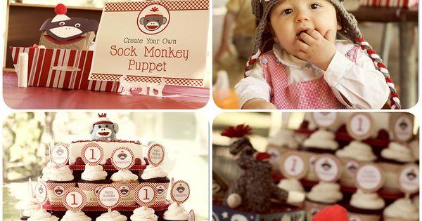 Vintage Sock Monkey Birthday Party
