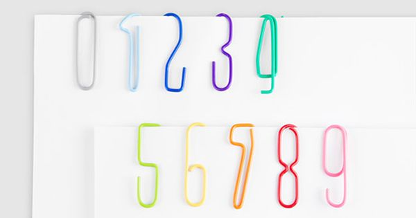 Numbered paperclips. Keeping the organization utensils organized?? Works for me!