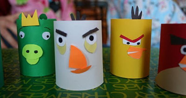 recycled toilet paper tube angry bird game @MaryLea Burkhalter Burkhalter Harris
