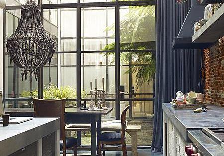 Kitchen- Steel Windows Floor to High Ceiling