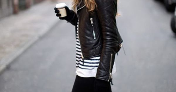 - chic outfit with black skinnies, black leather jacket and White and