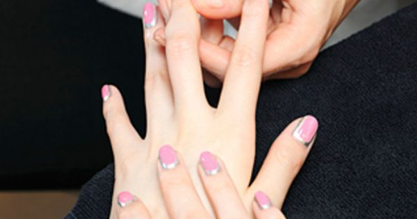 #chanel couture nailart nails beauty pink silver crescent halfmoon manicure