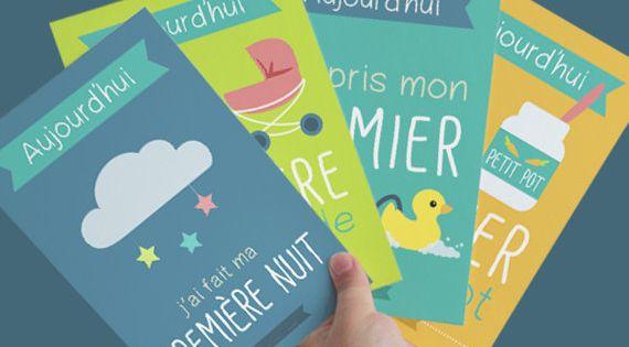 Kit de cartes tapes les premi res fois de b b sp cial naissance printable baby first - Carte etape bebe a imprimer ...