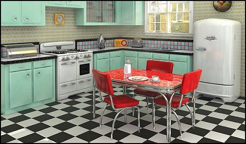 50s Bedroom Ideas 50s Theme Decor 1950s Retro Decorating Style 50s Diner 50s Party Decorations 50s Style Kitchens Kitchen Cabinet Design Kitchen Style