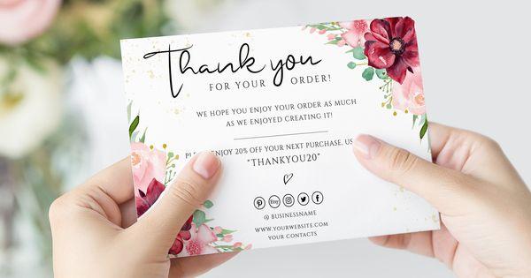 Small Business Thank You Card Printable Promo Code Insert Etsy Business Thank You Cards Thank You Cards Business Thank You