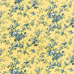 Isabelle Wallpaper And Fabric In Blue On Yellow From The Toile