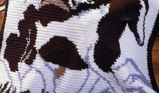 Wild Horses Afghan Fantastic Graph Ghan Pattern Crochet