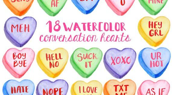 Valentine S Clipart 9 Png Download Files Conversation Etsy In 2021 Valentines Conversation Hearts Valentine Clipart Converse With Heart