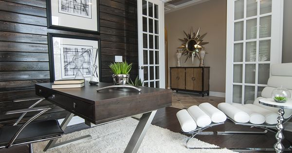 Home Office Features Chocolate Stained Beadboard Focal