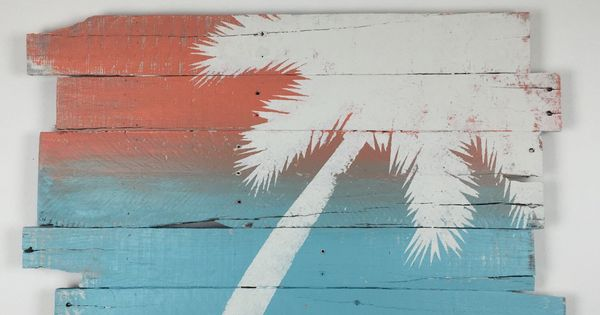 Beach decor wall hanging palm tree sunset coastal for Coastal wall decor ideas