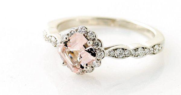 14K Asscher Morganite Diamond Ring