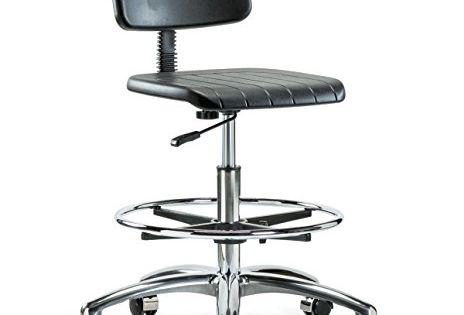 Perch Chrome Industrial Work Chair With Footring And Wheels For Carpet Or Linoleum Workbench Height Drafting Chair Chair Oversized Chair Living Room