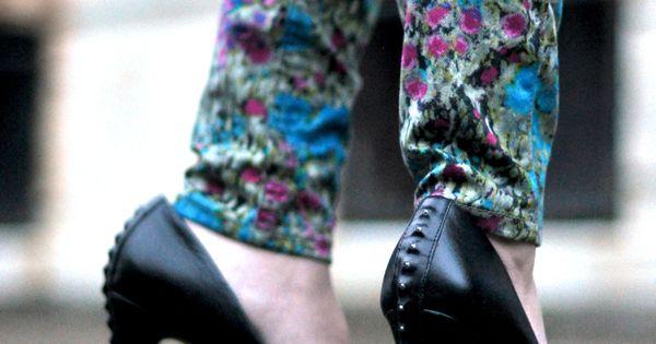 floral jeans, studs heels