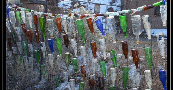 Bottle fence golden new mexico bottles pinterest for Bottle fence