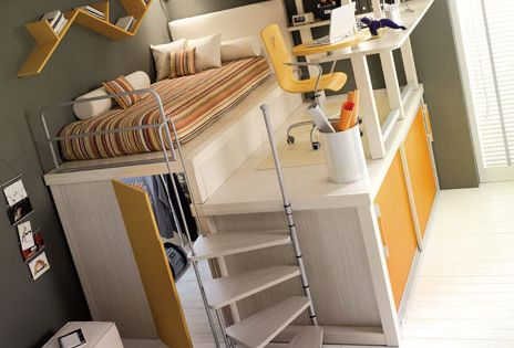 Love the loft bed idea for a kids room. space saver!