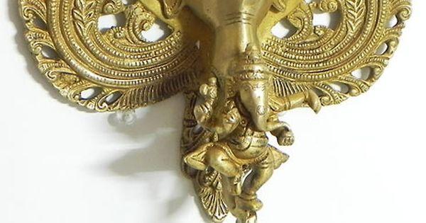 Ganesha diya on elephant trunk brass oil lamps for