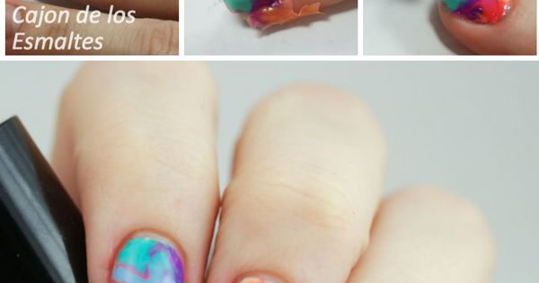 Nail art tutorial - Dry or Drag marble (no water!) with jelly