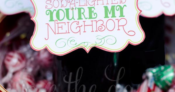 "Could be a teacher gift ""Soda lighted you're my teacher""PRINTABLE Christmas Neighbor"