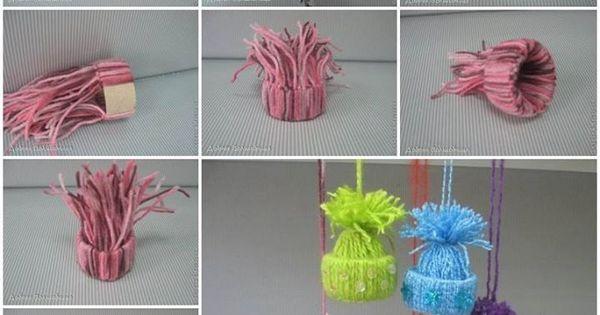 Id es d co bonnets avec laine et rouleau de papier - Decoration de noel avec rouleau papier toilette ...
