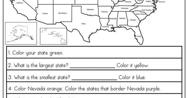Social Studies Worksheets For Elementary : Free us map elementary worksheet homeed h g ss