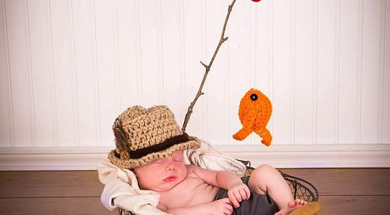LOVE LOVE!!!!!Baby Boy Fishing Hat & Fish SET Newborn 0 3m 6m Crochet Photo Prop Boys Girls Clothes ADORABLE Perfect for All Seasons Daddies Love This