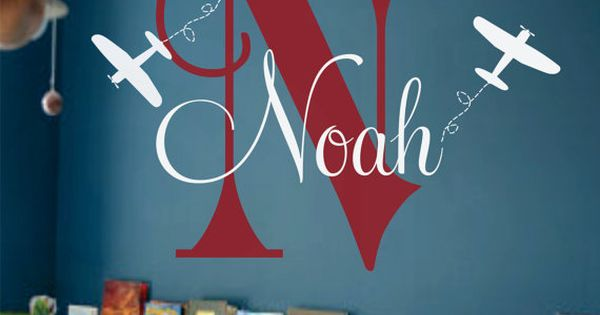Airplane Wall Name Decal - Initial and Name Monogram Wall Lettering for