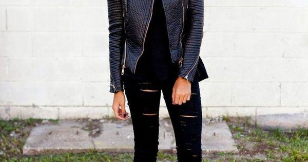 Veste en cuir femme- 38 idées cool de tenues automne!  Noir