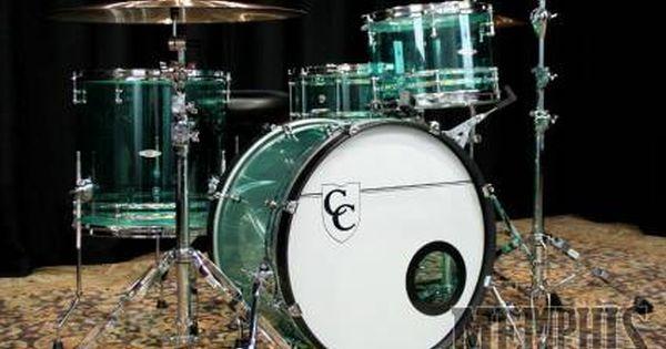 C Custom Acrylic Drum Set 22 13 16 14 Coke Bottle Green W Awabi Stripes Drums Drum Set Metal Drum