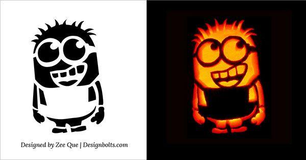 pumpkin template minion  7 Cute, Funny, Cool & Easy Halloween Pumpkin Carving ...