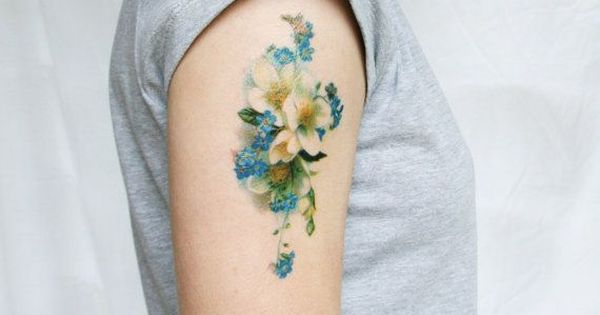 Vintage blue and white floral temporary tattoo for White temporary tattoos