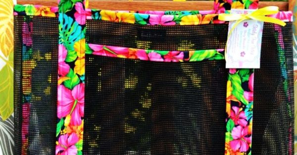 Tote Bag Vibrant Beach Tropical Hawaiian Print Fabric And